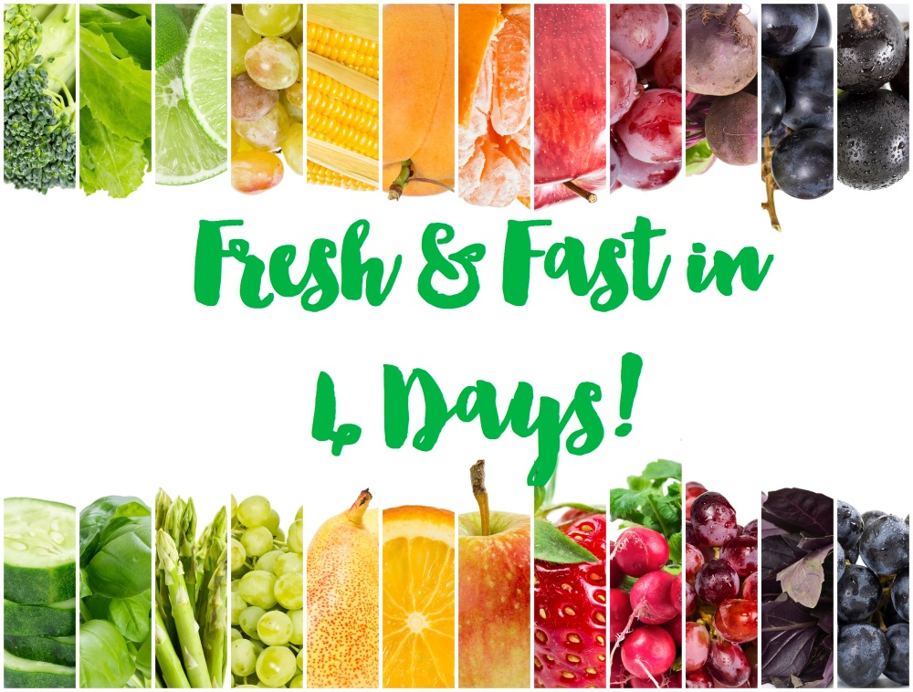 Collage of fresh fruits and vegetables